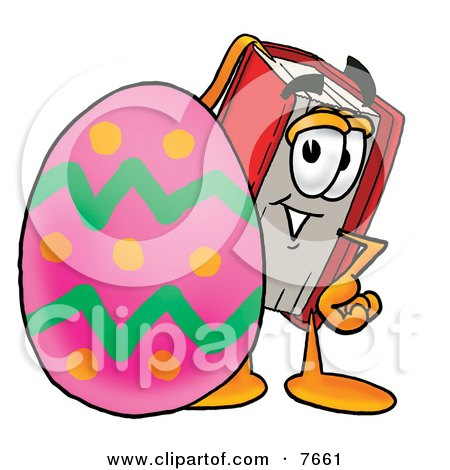 Clipart Picture of a Red Book Mascot Cartoon Character Standing Beside an Easter Egg by Toons4Biz