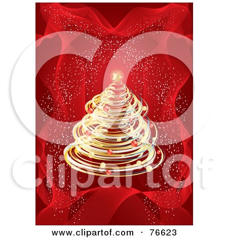 Royalty-Free (RF) Clipart Illustration of a Golden Christmas Tree Over A Red Background With Confetti by MilsiArt
