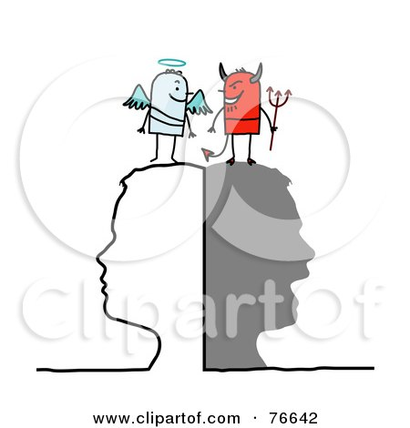 Royalty-Free (RF) Clipart Illustration of a Silhouetted Head With Stick People Angel And Devil On Top by NL shop