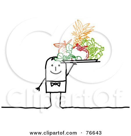 Royalty-Free (RF) Clipart Illustration of a Stick People Character Man Serving A Tray Of Colorful Fruits by NL shop