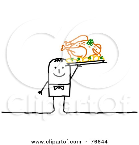 Royalty-Free (RF) Clipart Illustration of a Stick People Character Man Serving A Thanksgiving Feast by NL shop