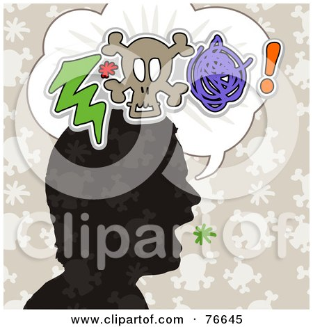 Royalty-Free (RF) Clipart Illustration of a Silhouetted Head With A Bolt, Skull And Scribble In A Word Balloon by NL shop