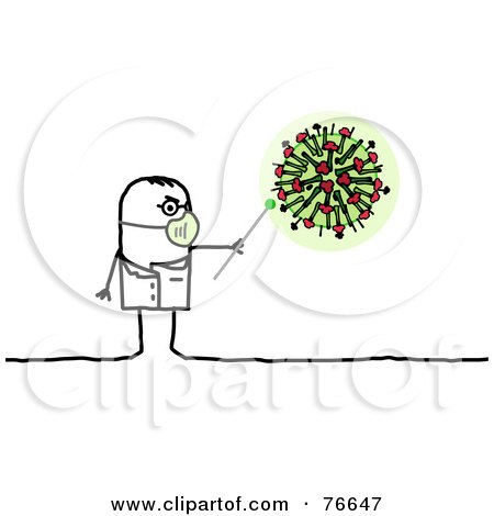 Royalty-Free (RF) Clipart Illustration of a Stick People Character Doctor Man Pointing To An H1N1 Virus by NL shop