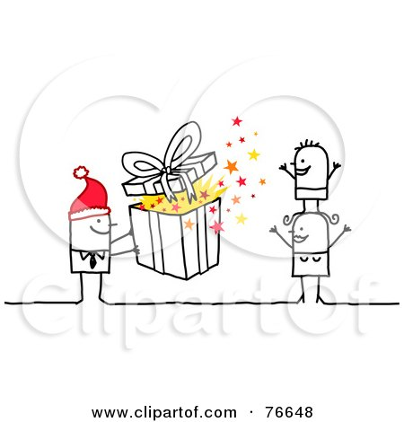 Royalty-Free (RF) Clipart Illustration of a Stick People Character Man Giving His Wife And Child A Christmas Present by NL shop