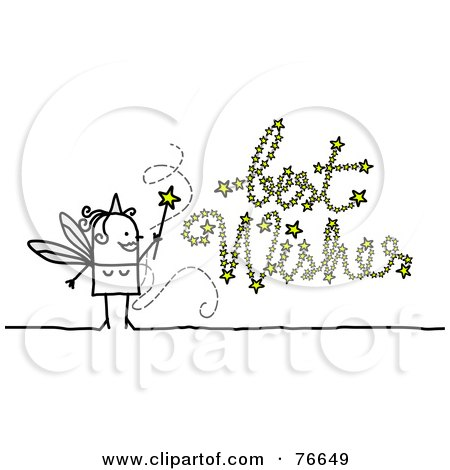 Royalty-Free (RF) Clipart Illustration of a Stick People Character Fairy Godmother Writing Best Wishes With Her Wand by NL shop