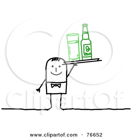 Royalty-Free (RF) Clipart Illustration of a Stick People Character Man Serving A Bottled Beverage And A Glass by NL shop