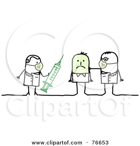 Royalty-Free (RF) Clipart Illustration of a Stick People Character Man Getting A Swine Flu H1N1 Vaccine by NL shop