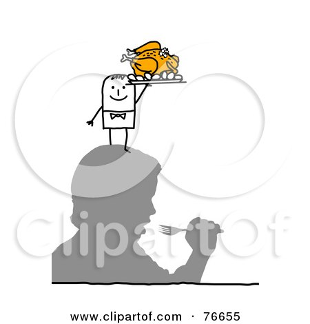 Royalty-Free (RF) Clipart Illustration of a Stick People Character Man Serving A Turkey On A Man's Head by NL shop
