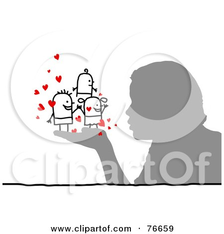 Royalty-Free (RF) Clipart Illustration of a Silhouetted Person Blowing Kisses At Stick People by NL shop