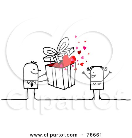 Royalty-Free (RF) Clipart Illustration of a Stick People Character Man Giving A Present To His Wife by NL shop