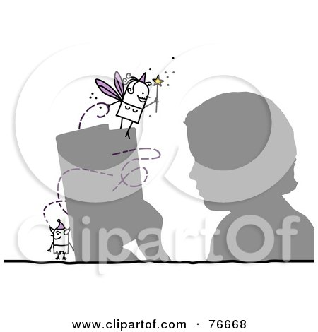 Royalty-Free (RF) Clipart Illustration of a Silhouetted Boy Reading A Story, With A Stick People Character Devil And Fairy Godmother by NL shop