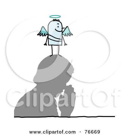 Royalty-Free (RF) Clipart Illustration of a Stick People Angel Character On A Man's Head by NL shop