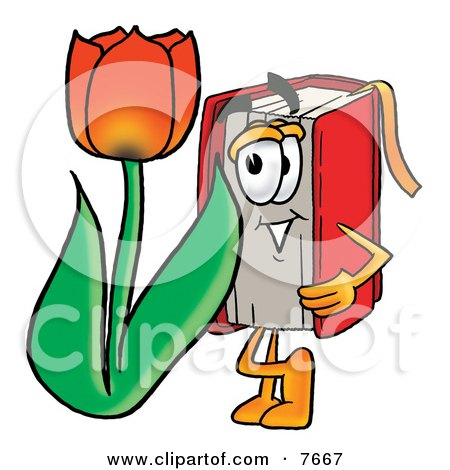 Red Book Mascot Cartoon Character With a Red Tulip Flower in the Spring Posters, Art Prints