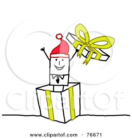 Royalty-Free (RF) Clipart Illustration of a Stick People Character Man Popping Out Of A Christmas Present by NL shop