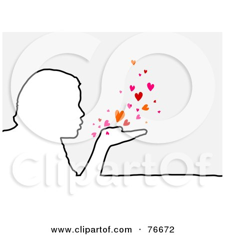 Royalty-Free (RF) Clipart Illustration of a Head Outline Of A Man Blowing Heart Kisses by NL shop