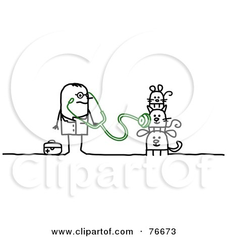 Royalty-Free (RF) Clipart Illustration of a Stick People Character Veterinarian Man Examining Pets by NL shop