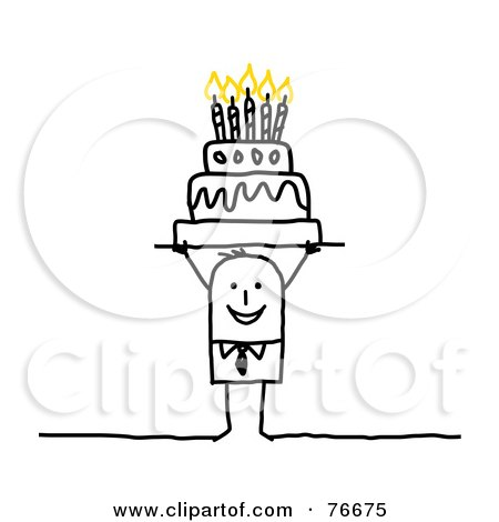 Royalty-Free (RF) Clip Art Illustration of a Stick People Character Man Holding A Birthday Cake Over His Head by NL shop