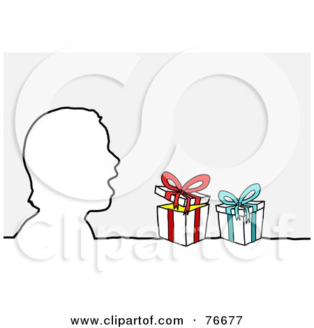 Royalty-Free (RF) Clipart Illustration of a Head Outline Of A Surprised Boy With Christmas Presents by NL shop