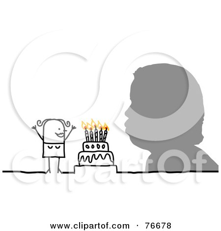 Royalty-Free (RF) Clipart Illustration of a Silhouetted Head Blowing Out Birthday Cake Candles By A Stick People Character Woman by NL shop