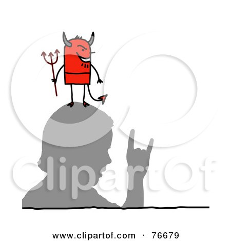 Royalty-Free (RF) Clipart Illustration of a Stick People Devil Character Man On A Man's Head by NL shop