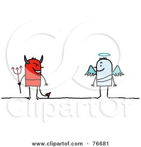Royalty-Free (RF) Clipart Illustration of a Stick People Devil Facing An Angel by NL shop