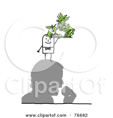 Royalty-Free (RF) Clipart Illustration of a Stick People Character Man Serving Fruit On A Man's Head by NL shop