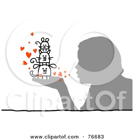 Royalty-Free (RF) Clipart Illustration of a Silhouetted Person Blowing Kisses To Their Pets In Hand by NL shop