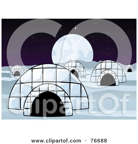 Royalty-Free (RF) Clipart Illustration of a Village Of Igloo Dwellings Under A Full Moon by r formidable