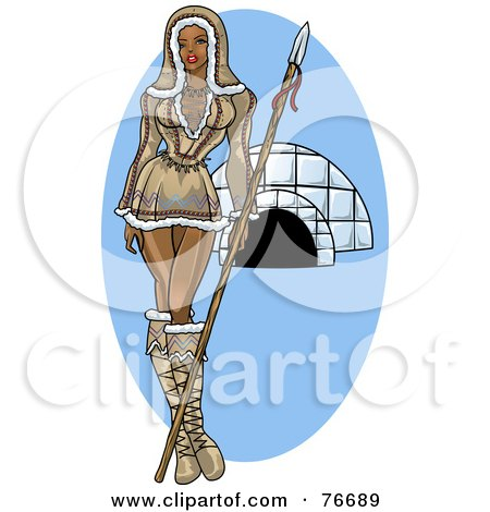 Royalty-Free (RF) Clipart Illustration of a Pinup Eskimo Woman Standing By An Igloo by r formidable