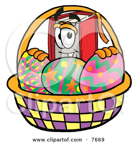 Clipart Picture of a Red Book Mascot Cartoon Character in an Easter Basket Full of Decorated Easter Eggs by Toons4Biz