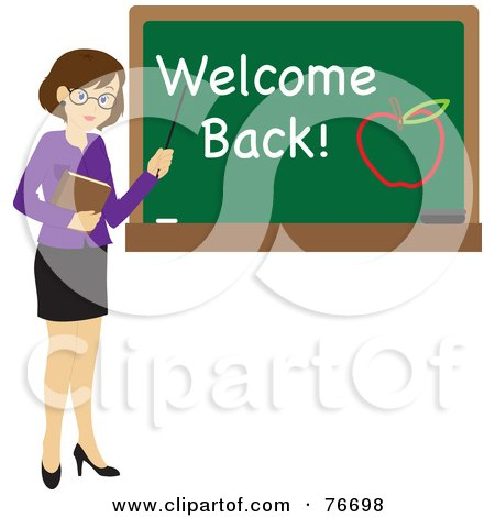 Royalty-Free (RF) Clipart Illustration of a Brunette Caucasian Female School Teacher Pointing To A Chalk Board With Welcome Back And An Apple by Rosie Piter