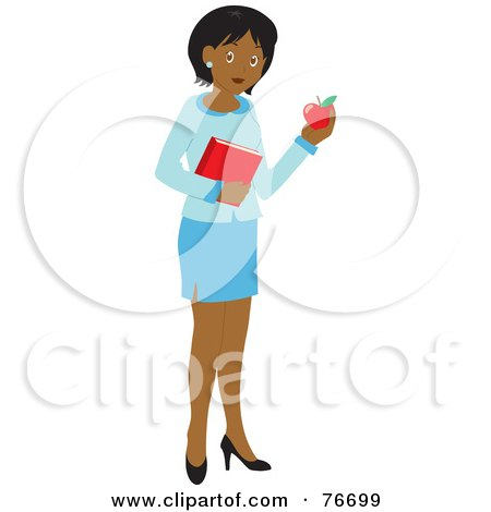 Royalty-Free (RF) Clipart Illustration of a Black School Teacher Woman Carrying An Apple And Book by Rosie Piter