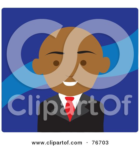Royalty-Free (RF) Clipart Illustration of a Friendy Black Businesswoman Avatar Over Blue by Rosie Piter