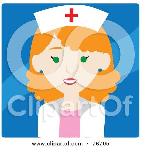 Royalty-Free (RF) Clipart Illustration of a Friendly Redhead Caucasian Female Nurse Avatar Over Blue by Rosie Piter