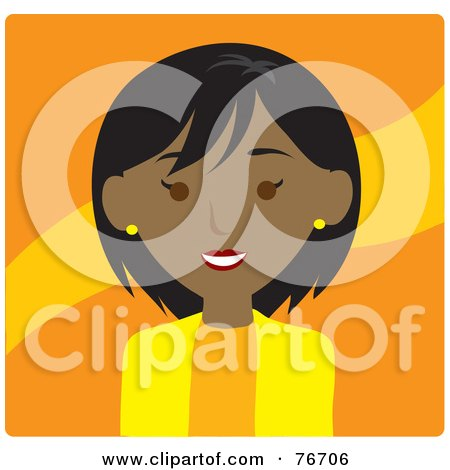 Royalty-Free (RF) Clipart Illustration of a Friendly Black Businesswoman Avatar Over Orange by Rosie Piter