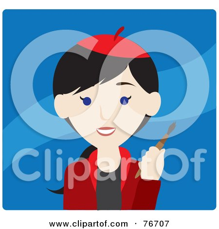 Royalty-Free (RF) Clipart Illustration of a Black Haired Caucasian Avatar Artist Woman On Blue by Rosie Piter