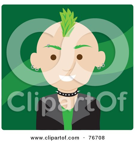 Royalty-Free (RF) Clipart Illustration of a Caucasian Punk Avatar Man With Green Hair by Rosie Piter