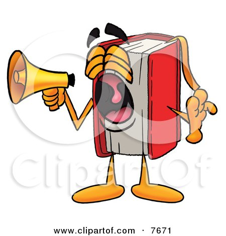 Clipart Picture of a Red Book Mascot Cartoon Character Screaming Into a Megaphone by Toons4Biz