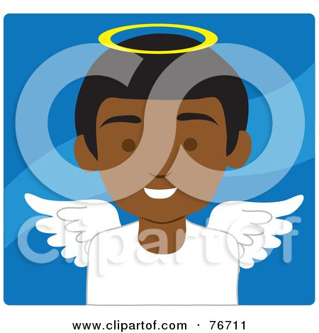 Royalty-Free (RF) Clipart Illustration of an African American Male Avatar Angel Over Blue by Rosie Piter