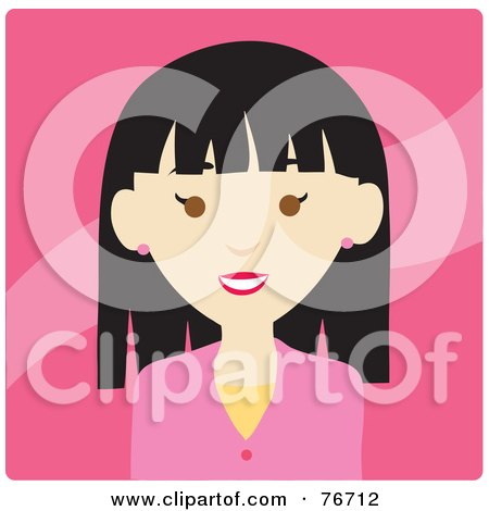 Royalty-Free (RF) Clipart Illustration of a Friendly Asian Woman Avatar On Pink by Rosie Piter