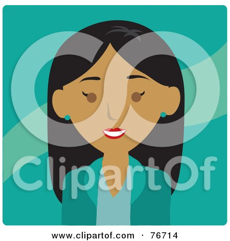 Royalty-Free (RF) Clipart Illustration of a Friendly Indian Business Woman Avatar Over Turquoise by Rosie Piter