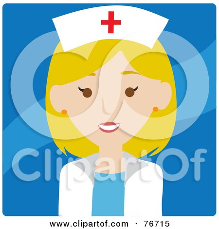 Royalty-Free (RF) Clipart Illustration of a Friendly Blond Caucasian Female Nurse Avatar Over Blue by Rosie Piter