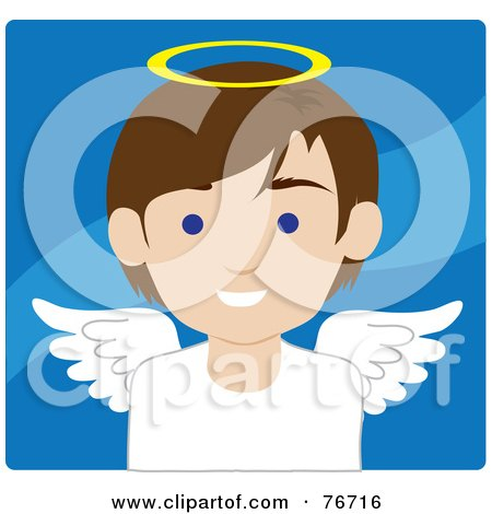 Royalty-Free (RF) Clipart Illustration of a Brunette Caucasian Male Avatar Angel Over Blue by Rosie Piter