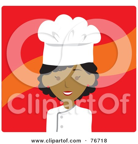 Royalty-Free (RF) Clipart Illustration of an African American Avatar Chef Woman Over Red by Rosie Piter