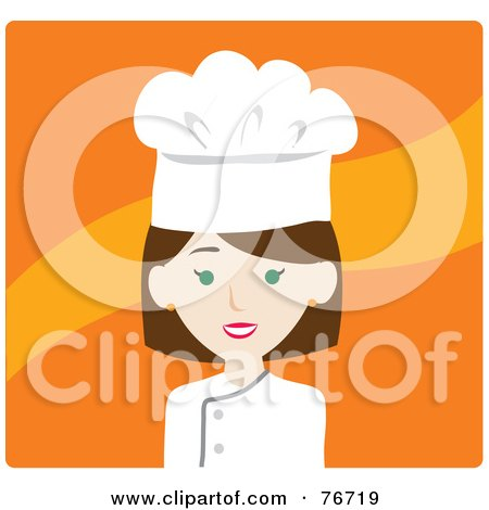 Royalty-Free (RF) Clipart Illustration of a Brunette Caucasian Avatar Chef Woman Over Orange by Rosie Piter