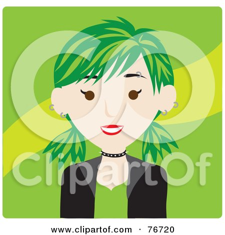 Royalty-Free (RF) Clipart Illustration of a Caucasian Punk Avatar Woman With Green Hair by Rosie Piter