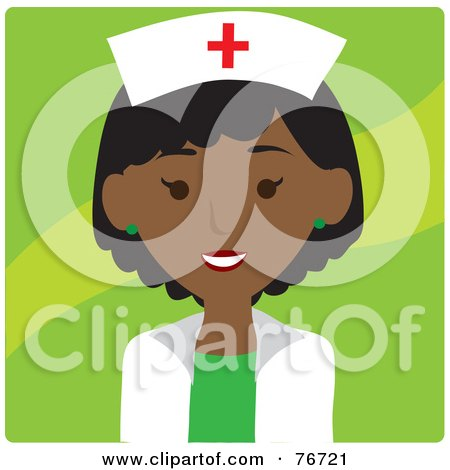 Royalty-Free (RF) Clipart Illustration of a Black Avatar Nurse Woman Over Red by Rosie Piter