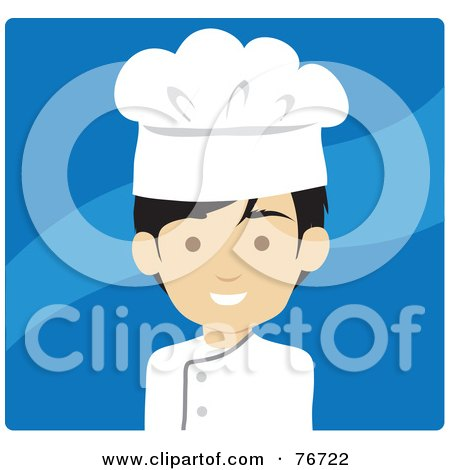 Royalty-Free (RF) Clipart Illustration of an Asian Avatar Chef Man Over Blue by Rosie Piter