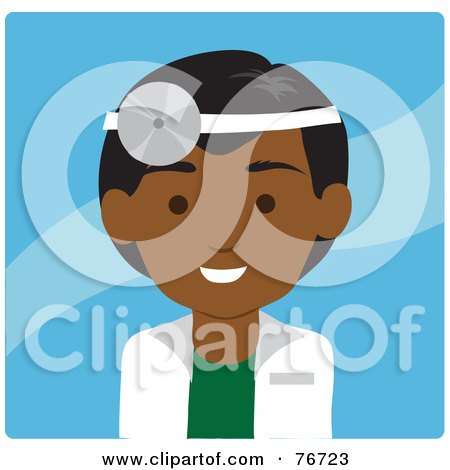 Royalty-Free (RF) Clipart Illustration of a Friendly Male Indian Doctor Avatar Over Blue by Rosie Piter