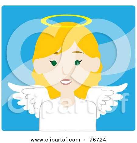 Royalty-Free (RF) Clipart Illustration of a Blond Caucasian Female Avatar Angel Over Blue by Rosie Piter